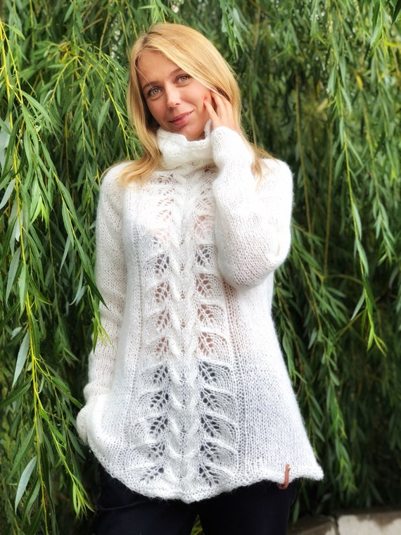 ee8e22fb1ae1 White Mohair Sweater Mohair sweater Turtleneck sweater Wool
