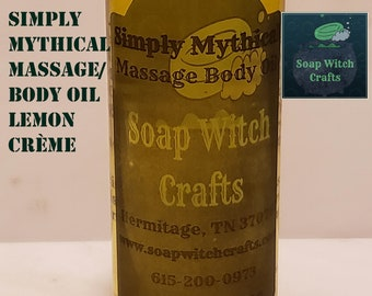 Simply Mythical - Lemon Crème Massage Oil, Dry Skin Body Oil, Moisturizing, Relaxing, Pure Natural Oil