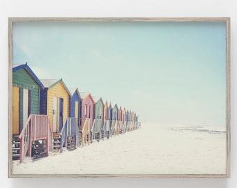 Seascape Painting Beach Digital Print Waves Sand Beach Hut Ocean Printable Vintage Wall Art Antique Painting #1