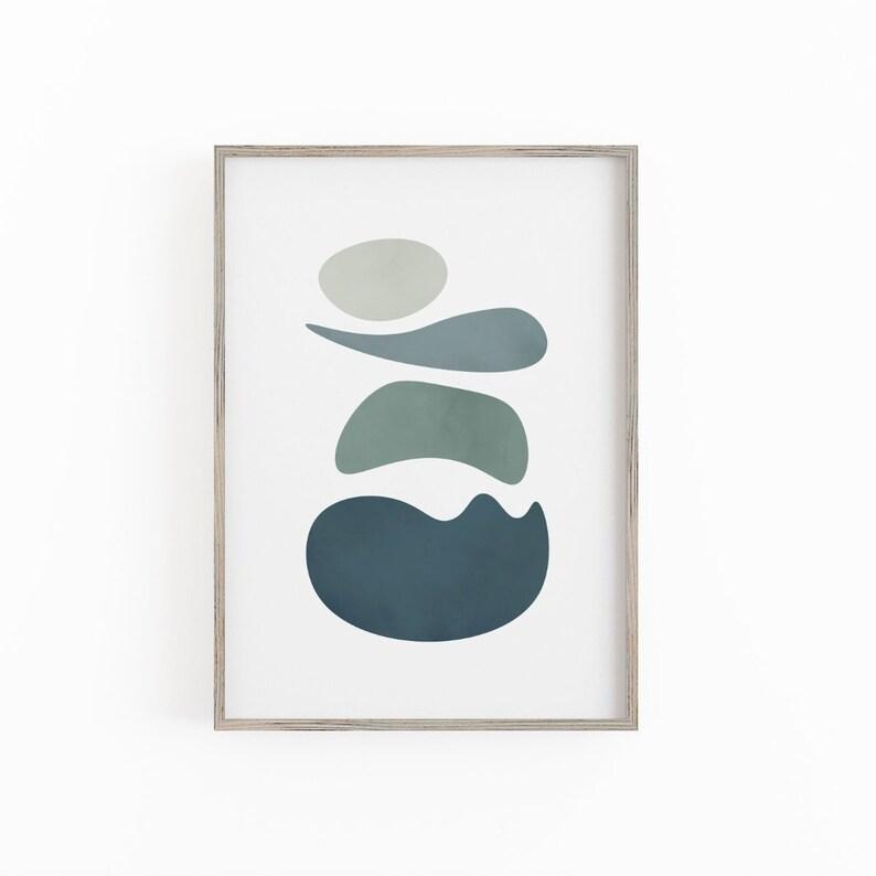 Mid Century Printable Wall Art, Cool Tones Blue Art Print, Modern Art  Print, Minimalist Abstract Poster, Retro Prints, Blue and Gray Decor
