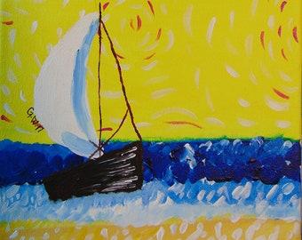 Vincent Van Gogh inspired sailboat