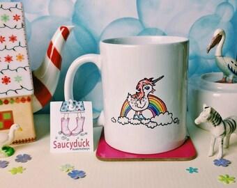 Saucyduck/UnicornDuck/Mug/Magical/Rainbow/Pretty