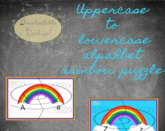 The alphabet, uppercase to lowercase: Rainbow Puzzles