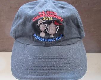 e20e4394a81 U.S. OPEN Championships Pinehurst USGA Member Golf hat black embellished cap  memorabilia buckle back one size fits pr owned used condition