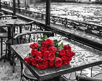 b08a11f186fc DIY Paint by number Kits - Forgotten Bouquet of Red Roses on the Table 40cm  x 50cm with Canvas for Adults