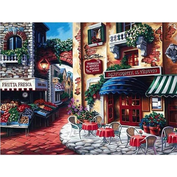 Diy Paint By Number Kits Terrazza Alapierto Café In Italy 40cm X 50cm With Canvas For Adults