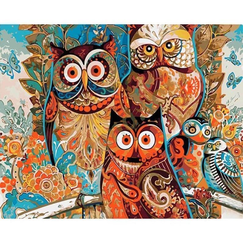Paint By Numbers DIY Kit Owl Love 40CMx50CM Canvas
