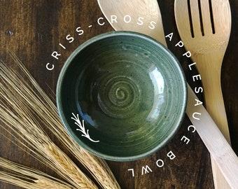 Criss-Cross Applesauce Small Green Ceramic Bowl