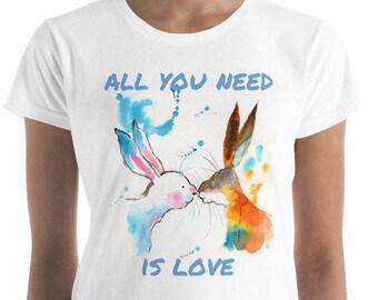 Bunnies Shirt, Love Shirt, All you need is love shirt, jackrabbit shirt, kid's rabbit shirt, women's rabbit shirt