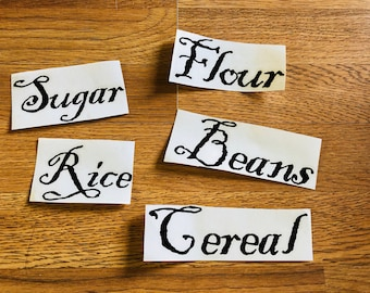 5 piece Kitchen labels, jar labels, organizing labels, refrigerator labels, etc.