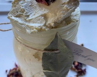 2oz Bergamot Rose Creamy Body Butter (Citrus aurantium var. bergamia / Rosa) 2oz Jar