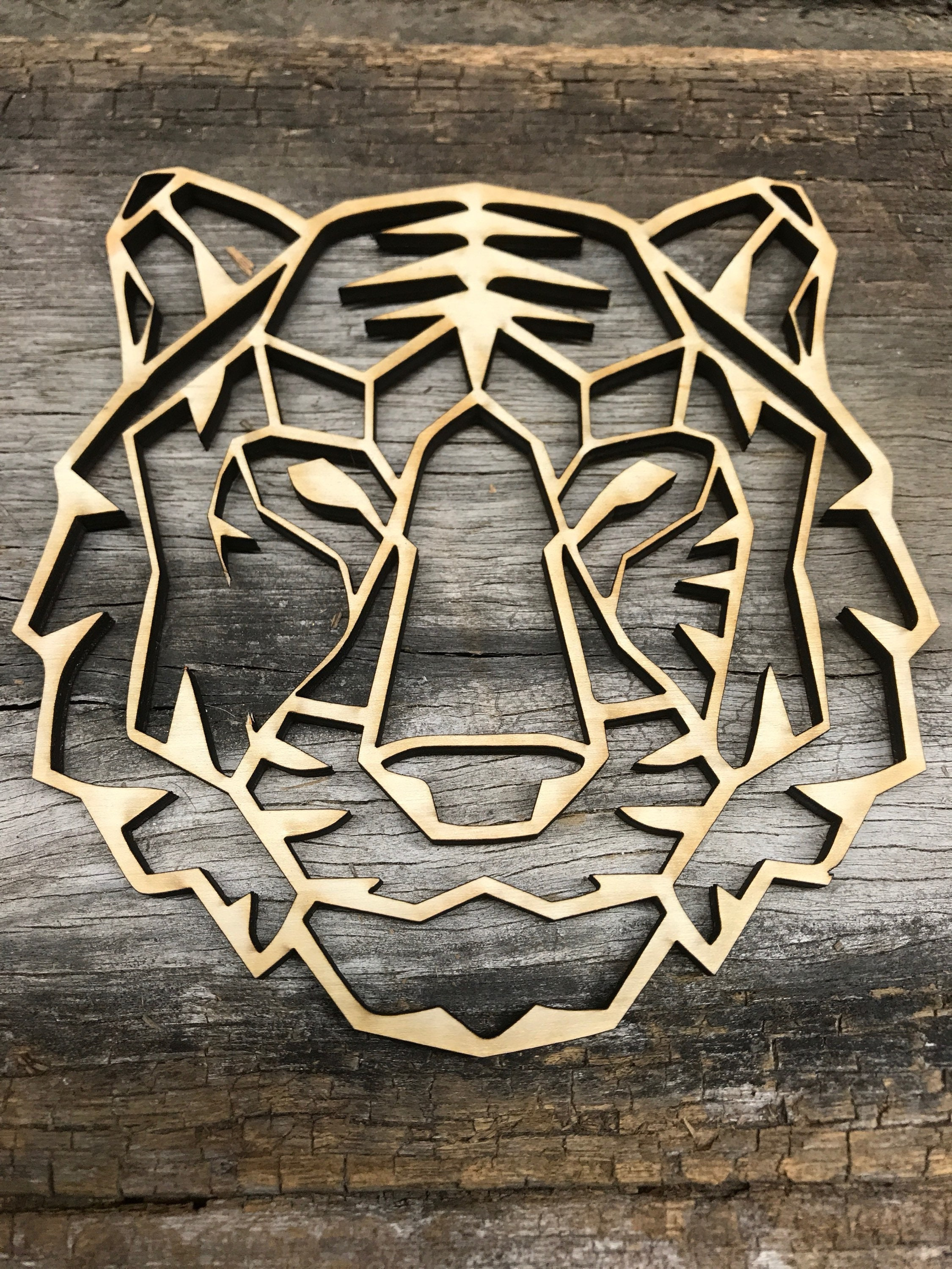 Geometric Tiger Face Wooden Craft Unfinished Wood Craft Etsy