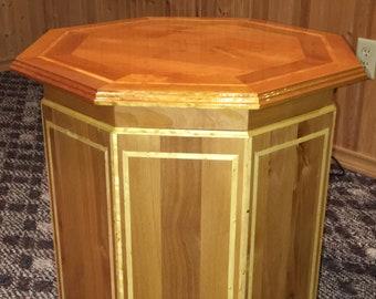 Alder octagon table w/Birdseye pine inlay