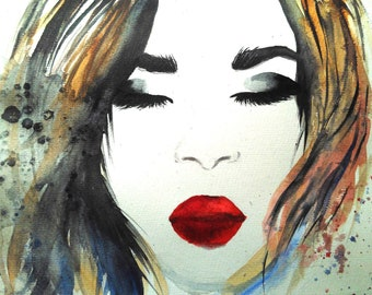 Original Watercolor Painting Girl Face Red Lips