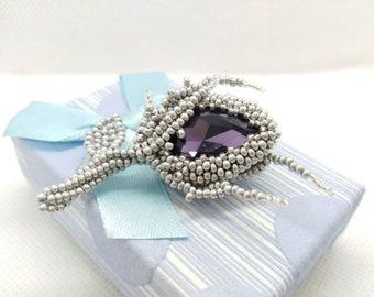 sequins and rhinestones Lavender or red fish-shaped brooch embroidered with Czech beads gift for her purple animalistic brooch for scarf
