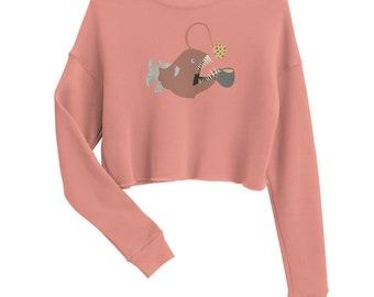Anglerfish Tea Party Crop Sweatshirt
