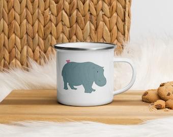 Hippo Tea Party Enamel Mug