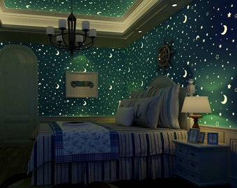 Glow in the dark stars and moon Glow in the dark stars moon and glaxaxy Diy Wallpaper. Full Wall Paper