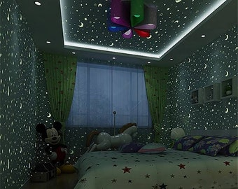 Glow in the dark luminous wall paper Diy wall paper. Stars and moon/Glow in the dark. Comes in light blue and pink sheds