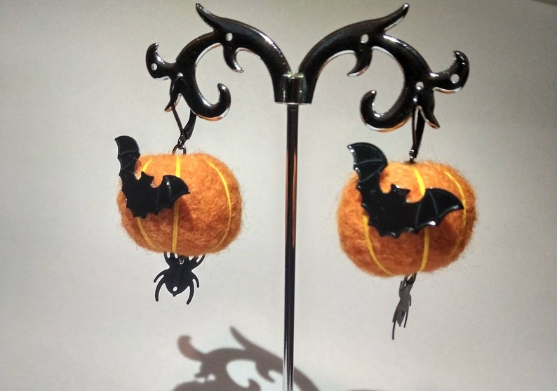 Halloween Earrings Pumpkin earrings Autumn earrings pumpkin image 5