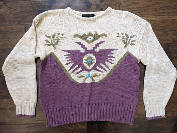 80s Lizsport Tribal Mauve Cream Brown and Turquois