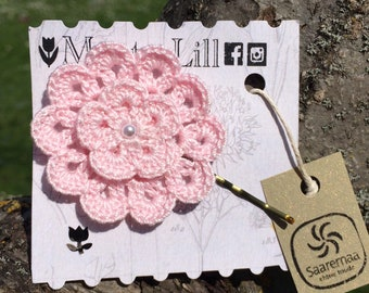 PINK Handmade Pastel Hair Pin Crochet Hair Accessories With Pearls Lace Bobby Pin
