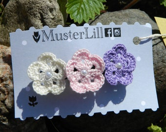 OMBRE Handmade Crochet Hair Barrette  White Pink Lavender Accessorie With Pearls