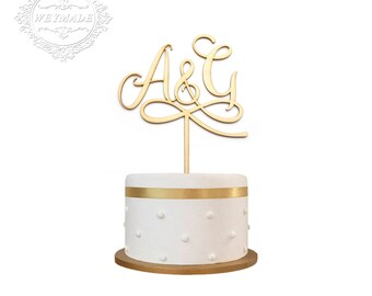 Personalized Laser Cut Bride & Groom Initials Wooden Cake Topper Centerpieces Decoration For Engagement Wedding Anniversary Party