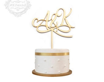 1 * Personalized Engagement Wedding Anniversary Party Laser Cut Bride & Groom Initials Wooden Cake Topper Centerpieces Decoration
