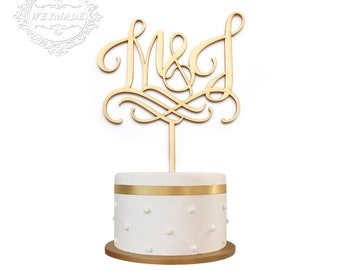 Vintage Wedding Engagement Anniversary Party Personalized Laser Cut Bride & Groom Initials Wooden Cake Topper Centerpieces Decoration