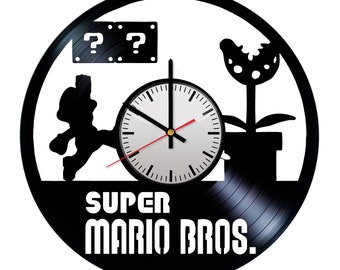 gift for mario fan etsy Gift of Gab Fey Tattoos super mario handmade vinyl record wall clock original fun gift for him and her unique home wall decor