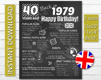 Birthday Chalkboard 1979 British Edition Printable JPG Digital Download 40th Poster UK Version Back In Gift