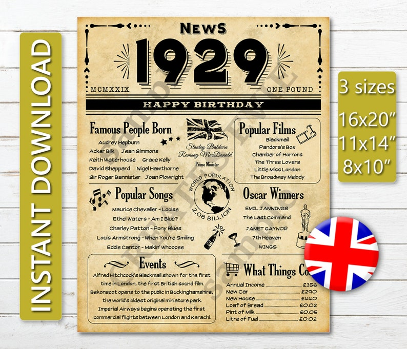 graphic about Free Printable Birthday Newspaper identify 90th Birthday Previous Newspaper Layout Poster 1929 British Version, Printable JPG Electronic Down load, Back again within 1929 Poster British isles Variation, Born inside 1929