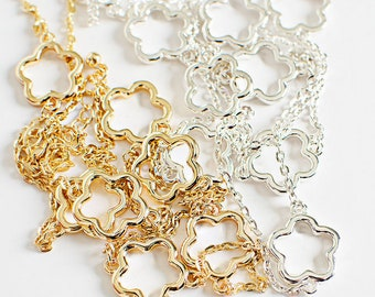 Silver or Gold Scattered Flower Necklace
