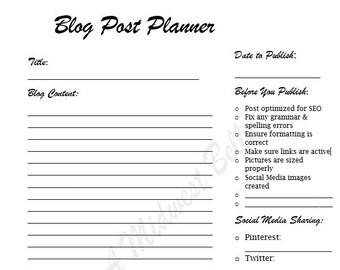 Blog post template etsy printable blog post planner maxwellsz