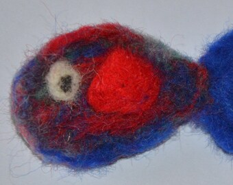 Red and Blue Needle Felt Fish Brooch - Badge
