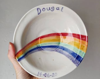 Rainbow personalised bowl   porcelain ceramic cereal soup bowl hand painted commemorative birthday baby gift christening naming ceremony