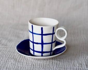 Grid Cup and Deep Blue Saucer | Fine porcelain ceramic coffee tea cup mug and saucer hand painted modern design Arthritis friendly handle