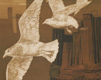 SEAGULLS S/n Limited Edition Serigraph by Roger Bergoff (Rolf Berg)