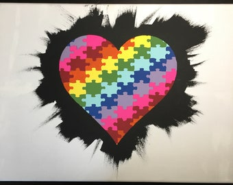 Original Puzzle Piece Heart Painting