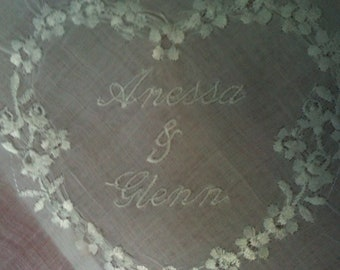 Personalized Wedding Hankie for Bride, Mothers or Maids