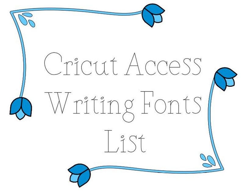 Cricut Access Writing Fonts List
