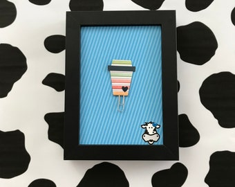 Colorful Stripy Coffee Cup Paper Clip