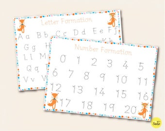 Fox Themed Number and Alphabet Letters Formation Mats, Trace Wipe Clean A4 Laminated Mats for Handwriting Practice, Early Learning, EYFS