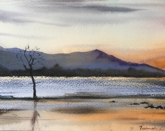 Old mountains, New Zealand, Watercolor Painting, Original artwork