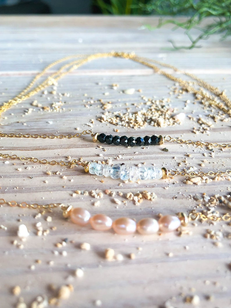 Popular Right Now Pearl Moonstone Bar Necklace Gemstone