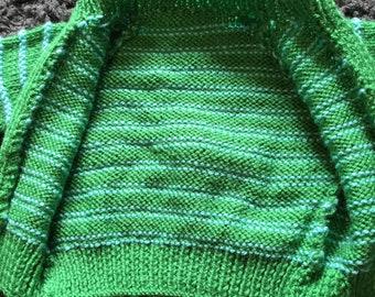 Green stripped boys baby jumper.