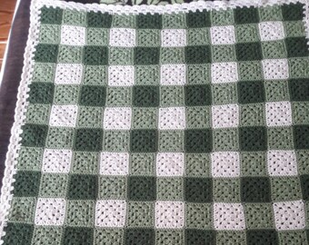 Crochet Afghan, Vintage Gingham Patterned, Granny Square, hand made, finished product