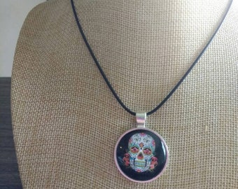 Sugar skull black with roses day of the dead pendant and necklace