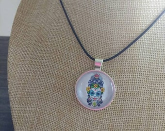 Female sugar skull day of the dead pendant and necklace